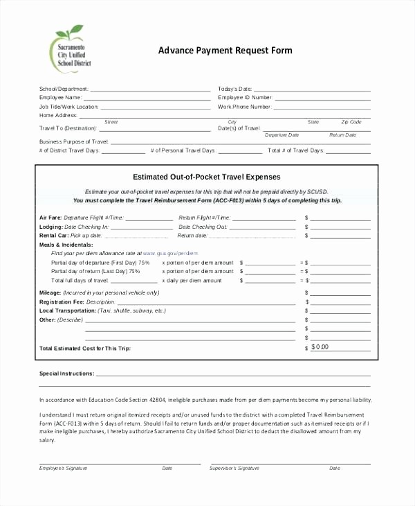 Per Diem Request form Template New Per Diem Receipt form Sample Cash Receipt Template