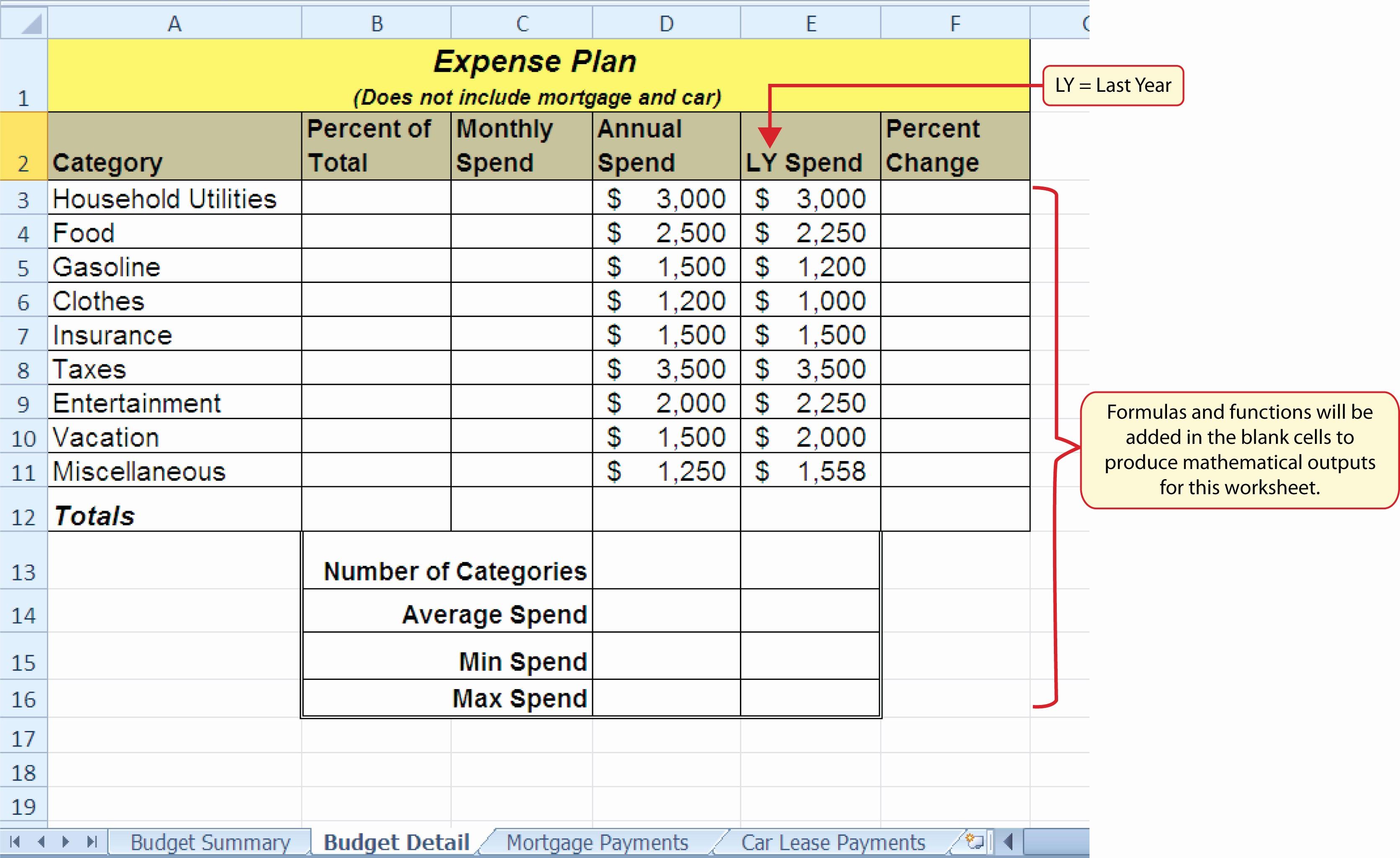 Personal Budget Exercise Ms Excel Elegant formulas