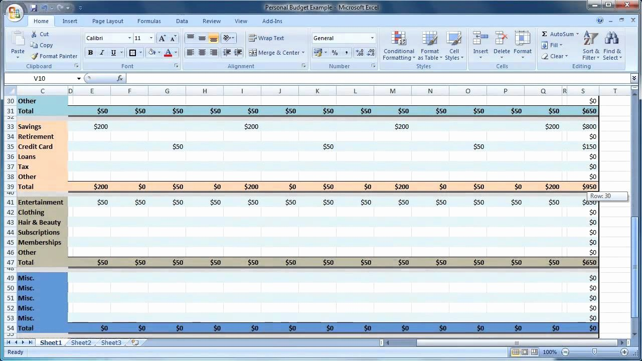 Personal Budget Exercise Ms Excel New Excel 2007 How to Create A Personal Bud Guide Level 1