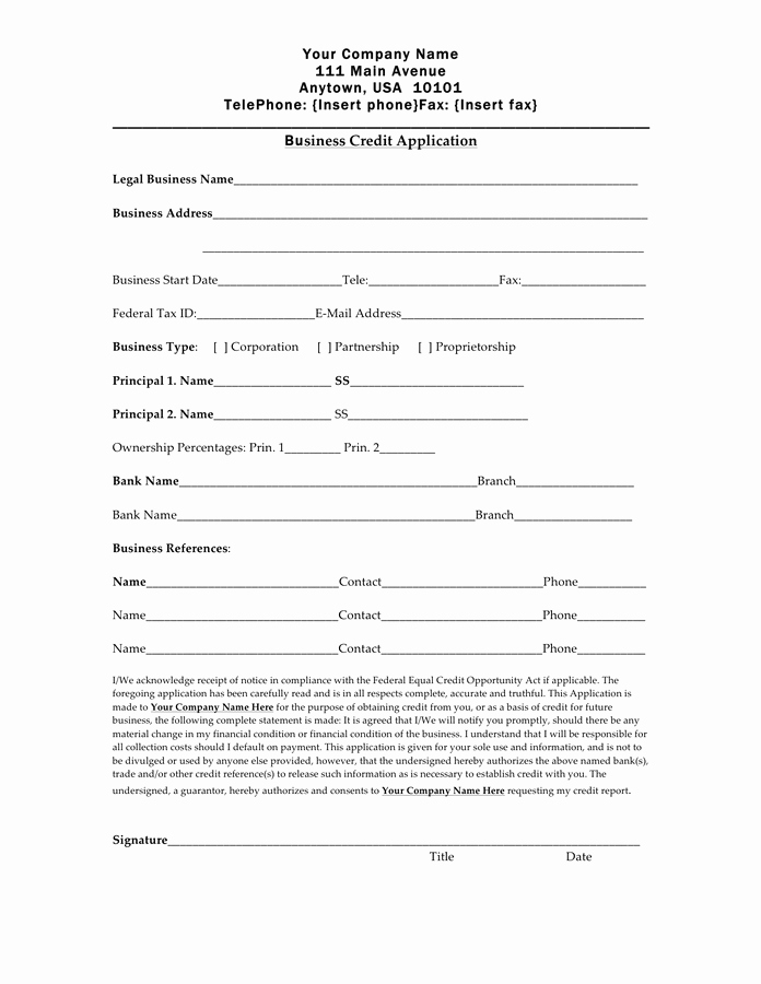 Personal Credit Application form Free Awesome Business Credit Application form Pdf – Business form Templates