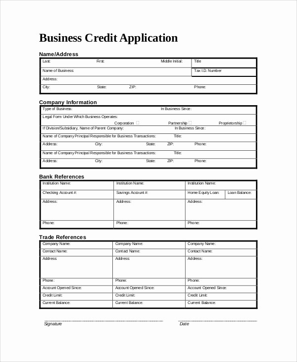Personal Credit Application form Free Inspirational 9 Sample Credit Application forms