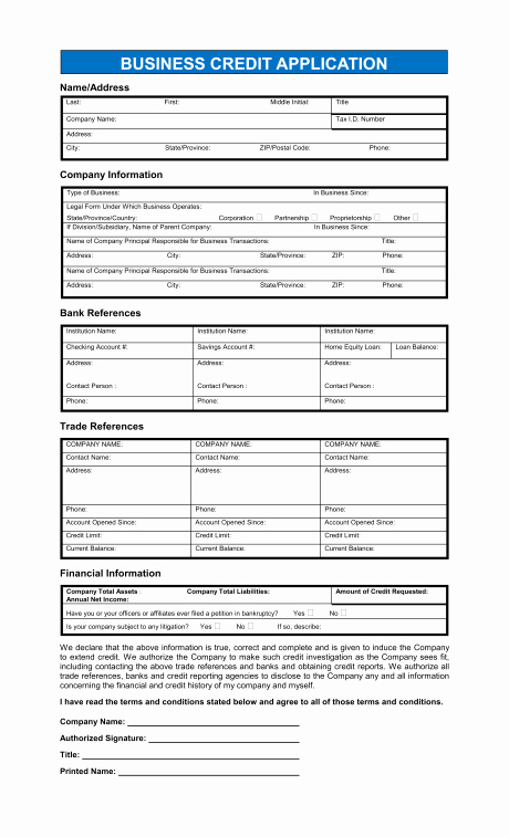 Personal Credit Application form Free Unique Free Printable Business Credit Application form form Generic
