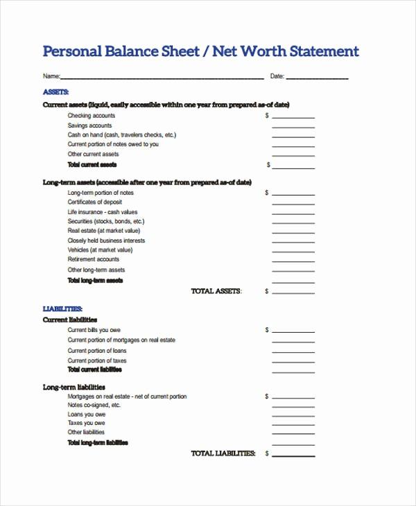 Personal Finance Balance Sheet Template Awesome 10 Balance Sheet Templates Free Sample Example format
