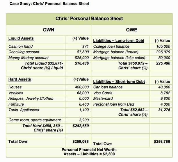 Personal Finance Balance Sheet Template Elegant 12 13 Personal Balance Sheet Examples