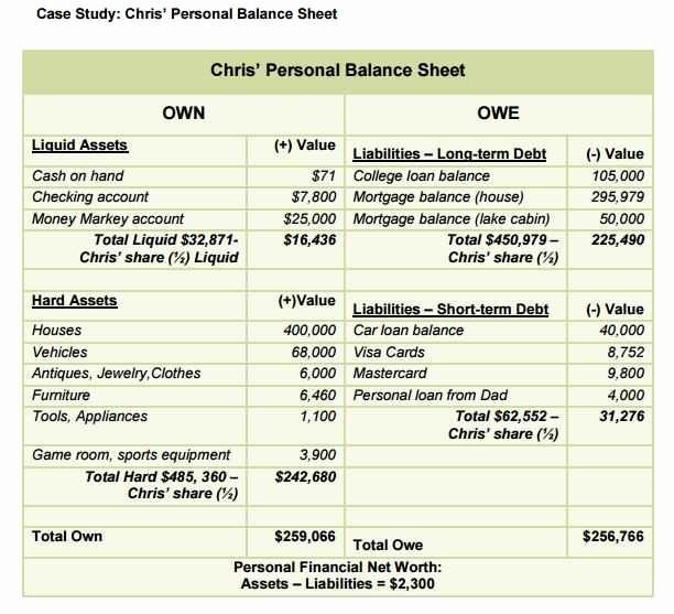 Personal Finance Balance Sheet Template Elegant 12 13 Personal Balance Sheet Examples