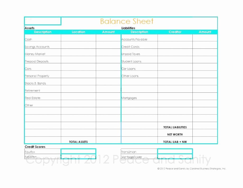 Personal Finance Balance Sheet Template Unique Free Personal Balance Sheet Template Sample Worksheets
