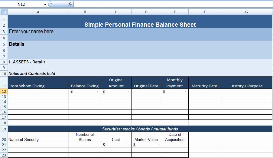 Personal Finance Balance Sheet Template Unique Simple Personal Finance Balance Sheet Template On Behance