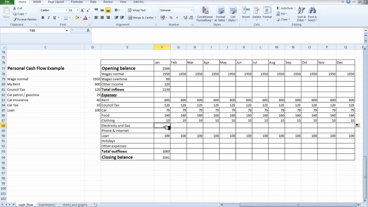 Personal Finance Cash Flow Statement Best Of Spreadsheet Personal Cash Flow for Students