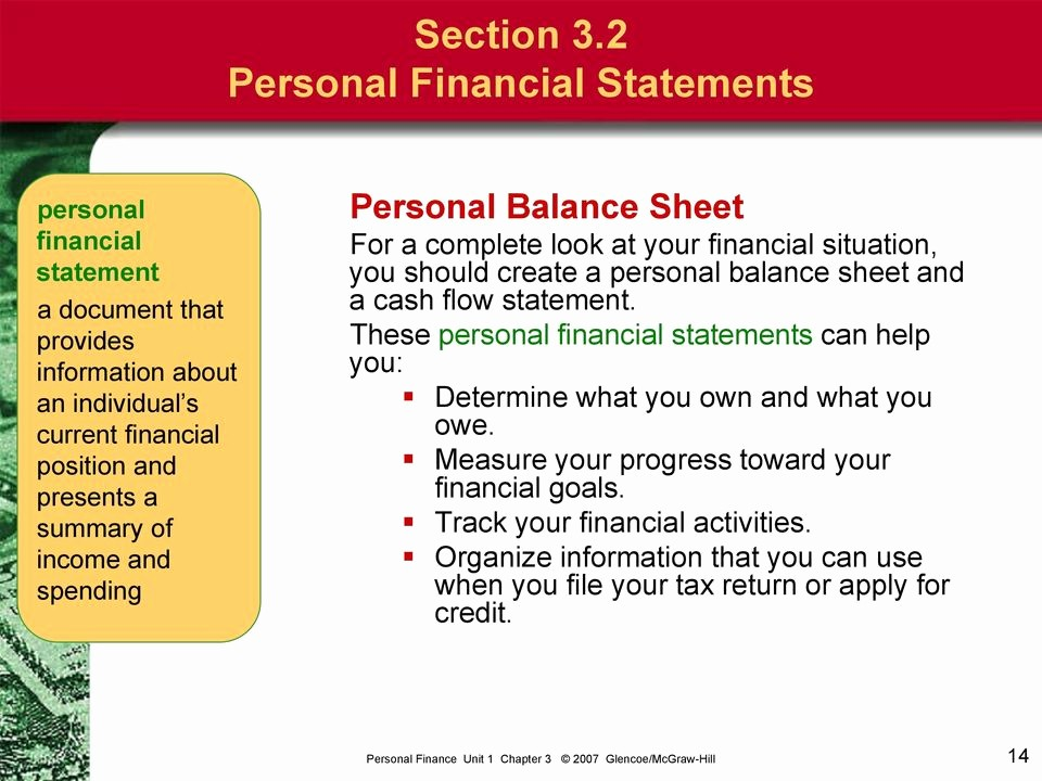 Personal Finance Cash Flow Statement Luxury Personal Finance Unit 1 Chapter Glencoe Mcgraw Hill Pdf