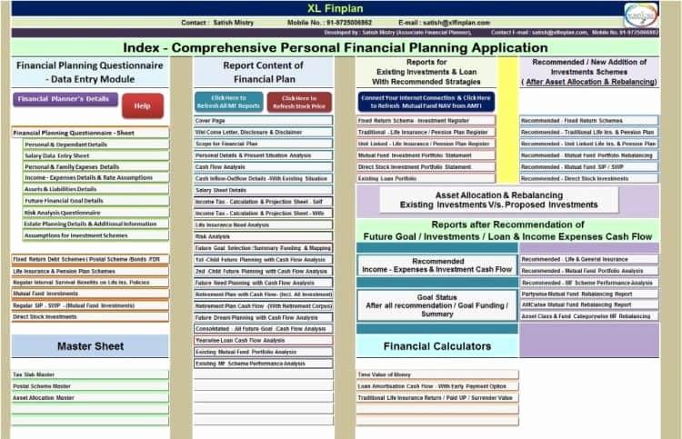 Personal Financial Plan Template Excel Unique Personal Financial Planner Excel India Free Financial