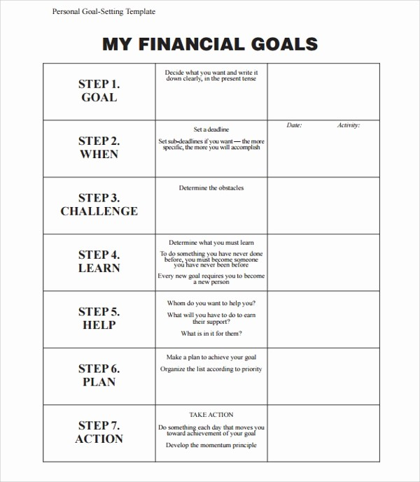 Personal Financial Plan Template Word Beautiful 9 Goal Planning Templates