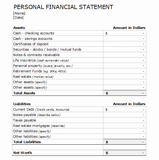 Personal Financial Plan Template Word New 4 Financial Statement forms and Templates to Analyze Your