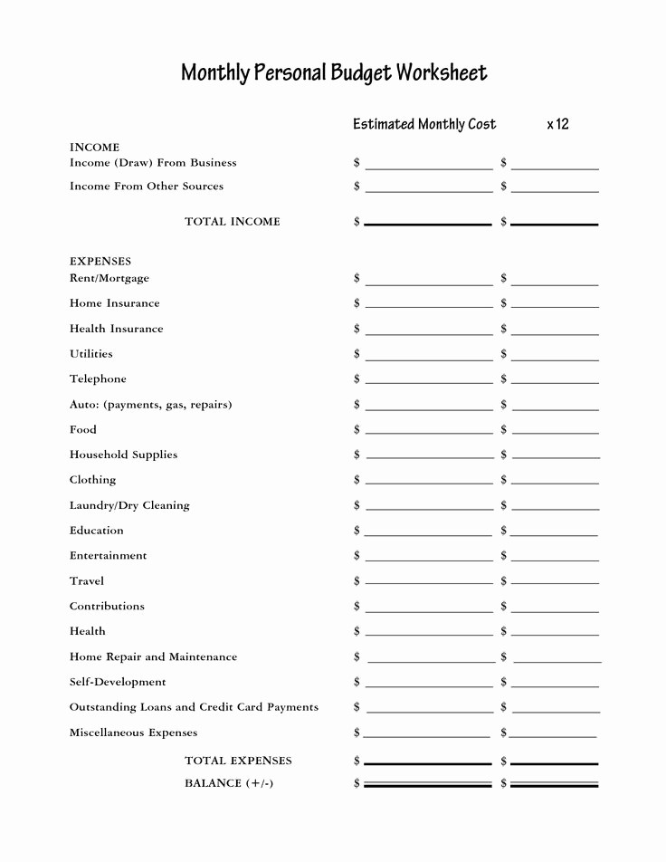 Personal Income and Expense Sheet Lovely Free Printable Worksheet Bud Spreadsheet