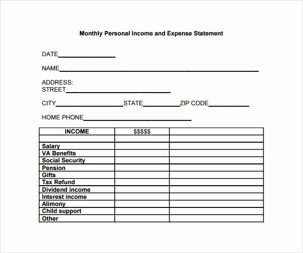 Personal Income and Expense Sheet Unique Personal In E and Expenses Template Statement
