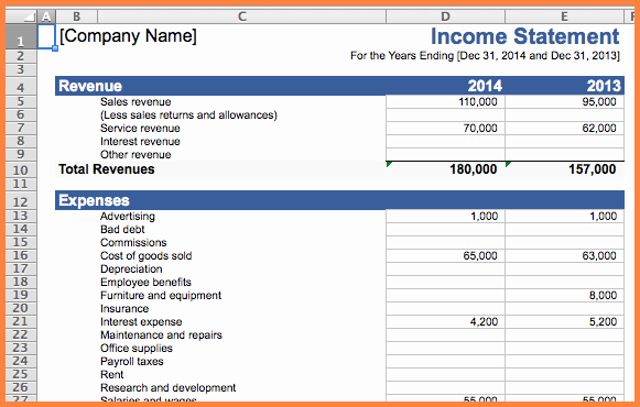 5 business expense and in e spreadsheet