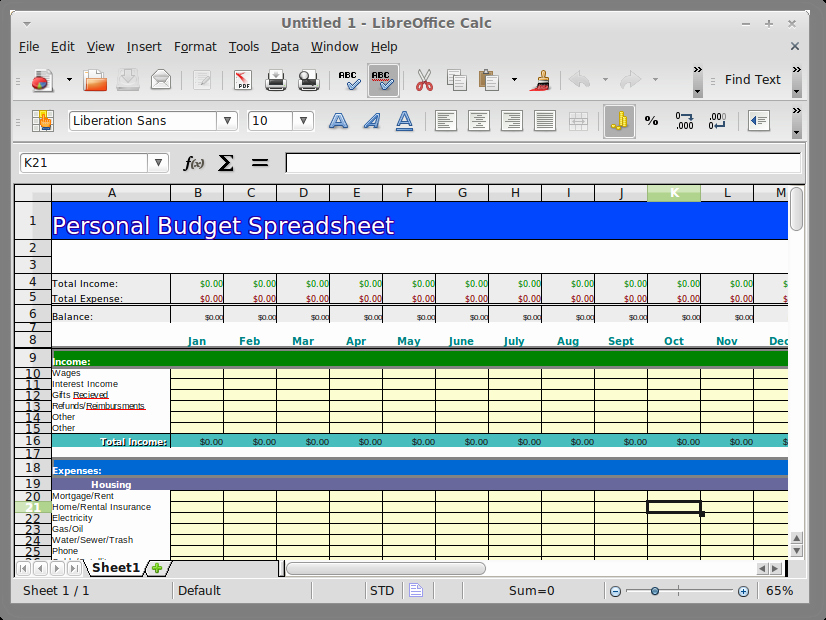 Personal Income and Expense Spreadsheet Luxury Openoffice & Libreoffice Personal Family Bud