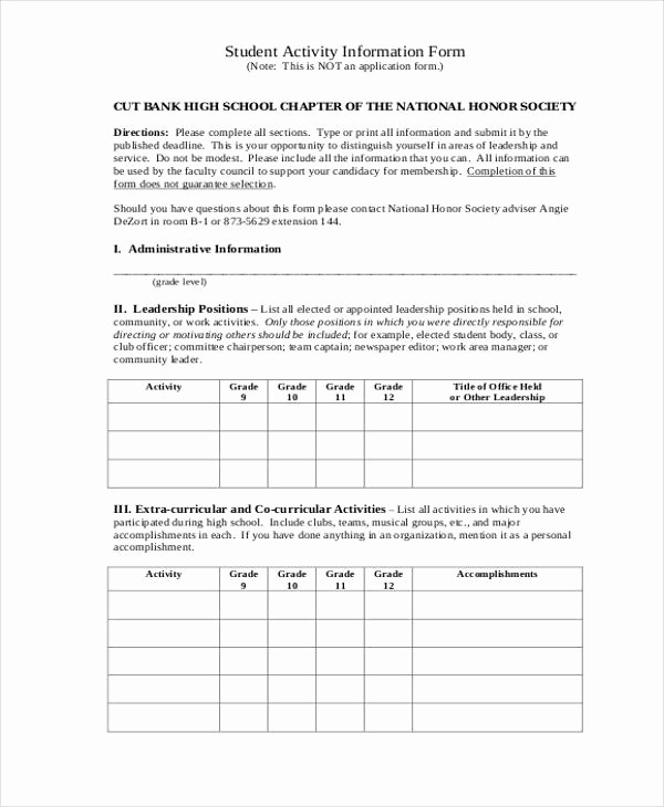 Personal Information form for Students Awesome 10 Student Information forms Free Sample Example