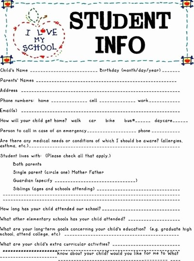 Personal Information form for Students Beautiful Student Information Sheet Preschool Items Juxtapost