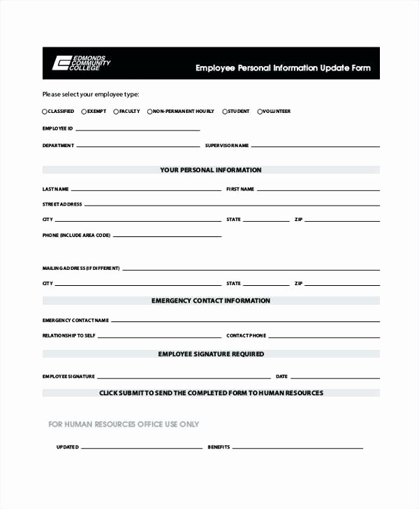 Personal Information form for Students Best Of Employee Personal Information Update Example for Students