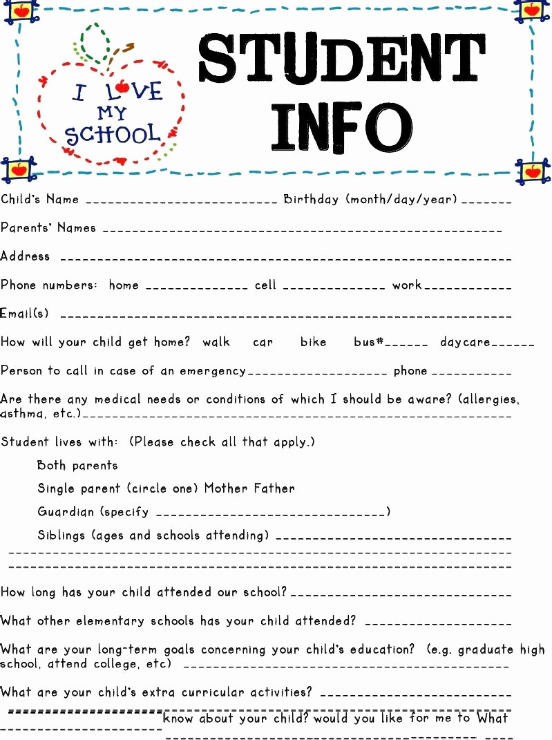Personal Information form for Students Best Of Student Information Sheets are Great tools to to Know