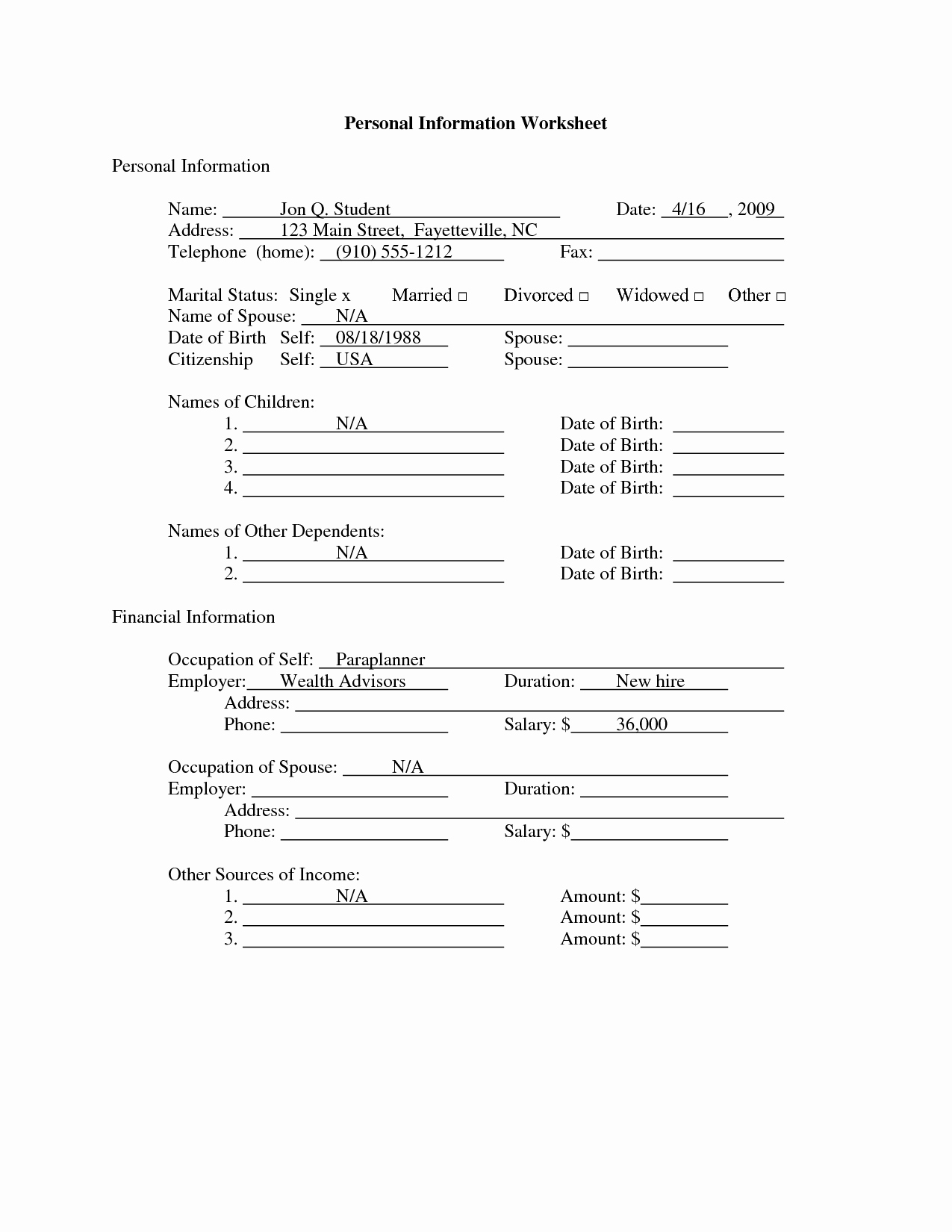 Personal Information form for Students Elegant 14 Best Of Student Information Worksheet Student