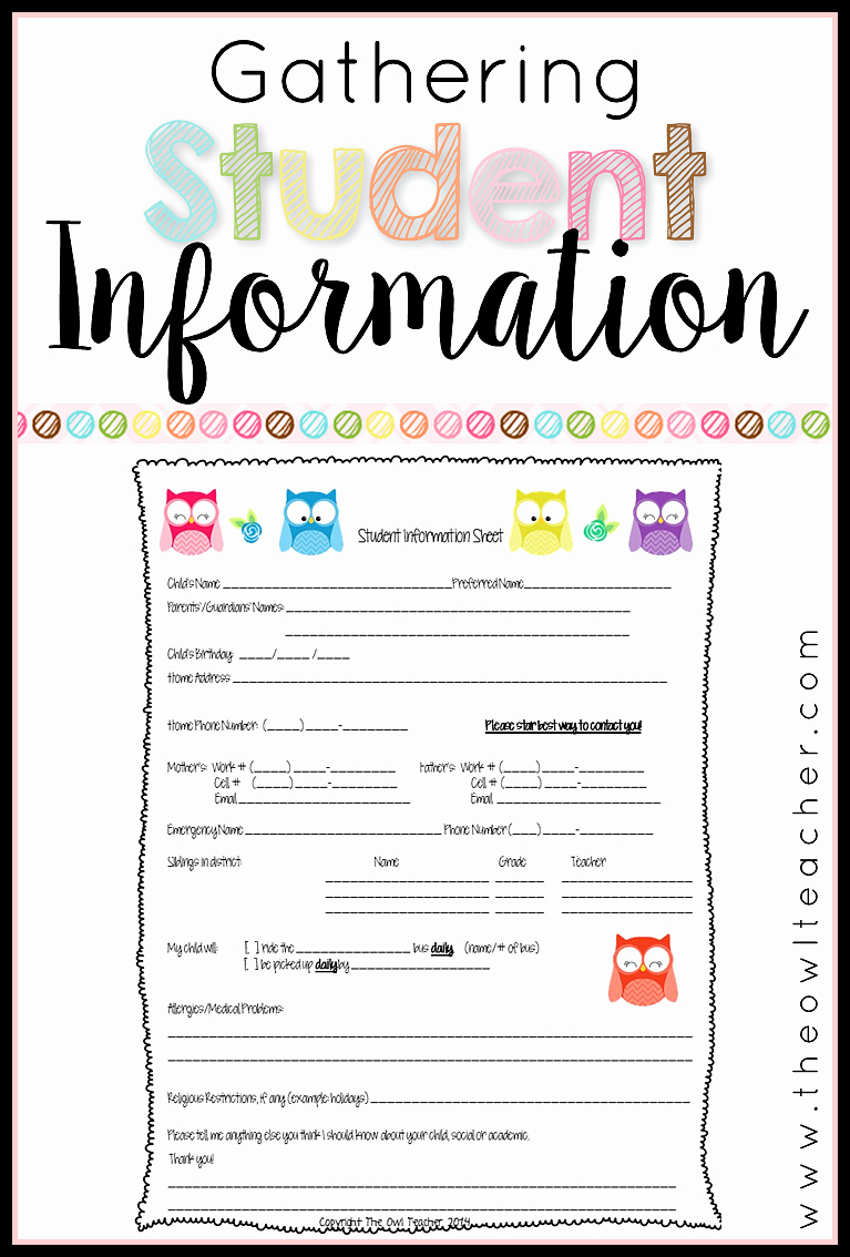 Personal Information form for Students Elegant Collecting Student Information the Owl Teacher