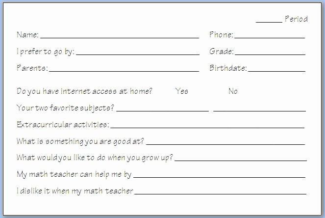 Personal Information form for Students Elegant First Day Of School