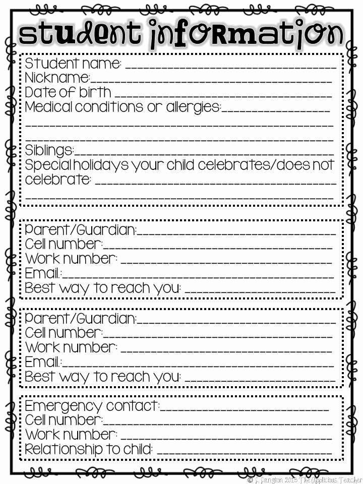 Personal Information form for Students Fresh Best 25 Teacher Introduction Letter Ideas On Pinterest