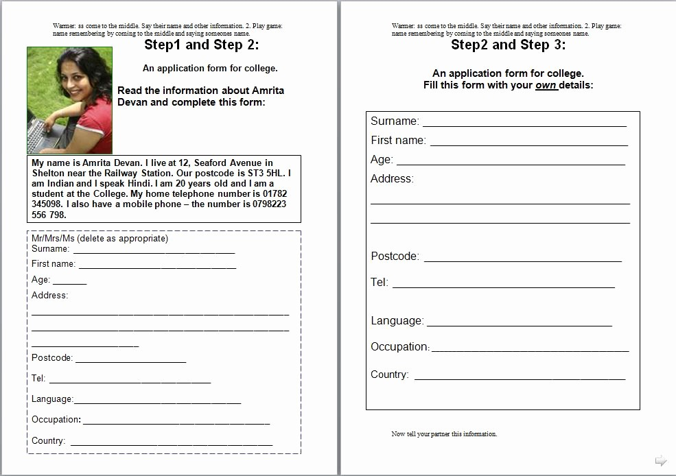 Personal Information form for Students Fresh Personal Information Papa English English Made Easy