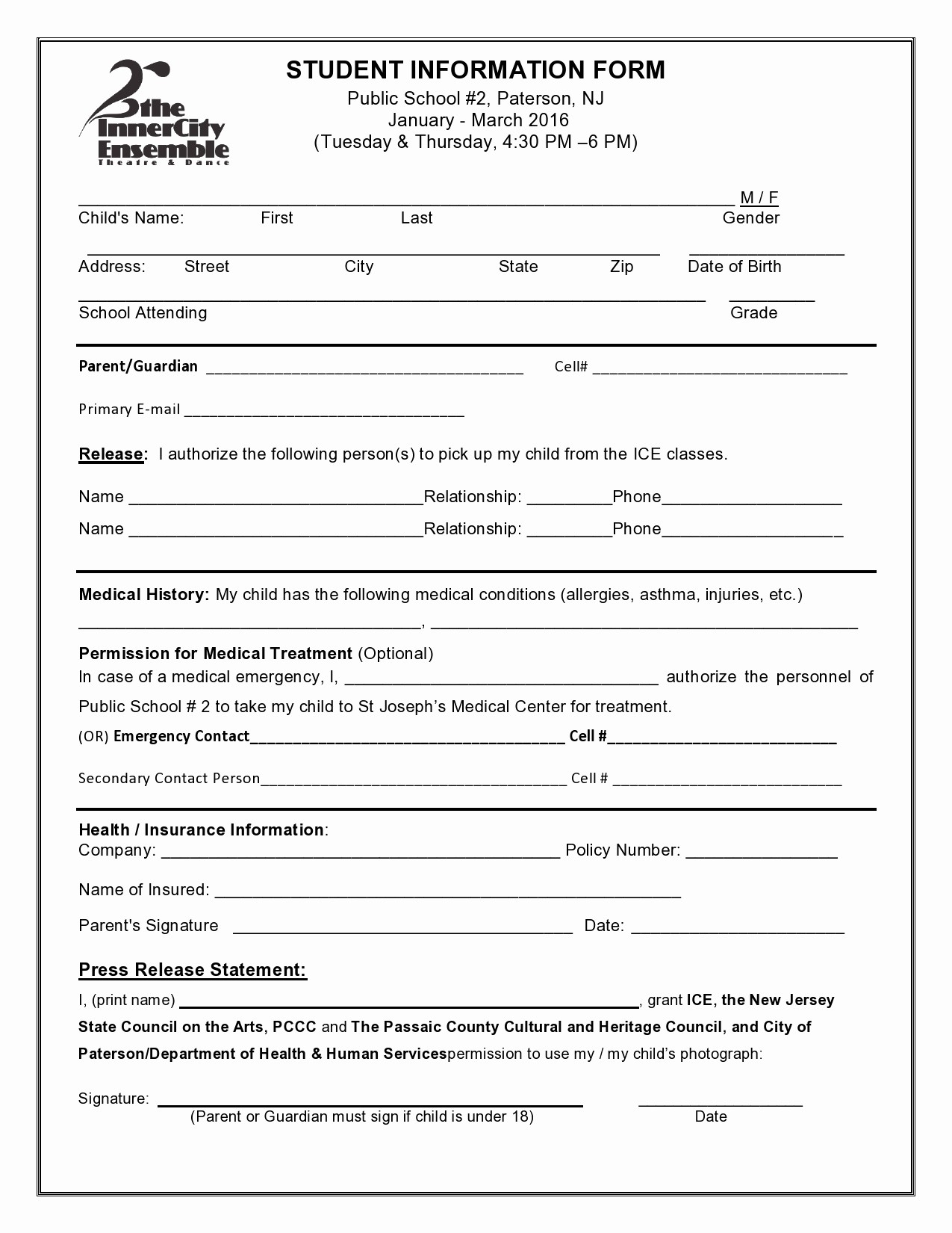 Personal Information form for Students Lovely Student Information form