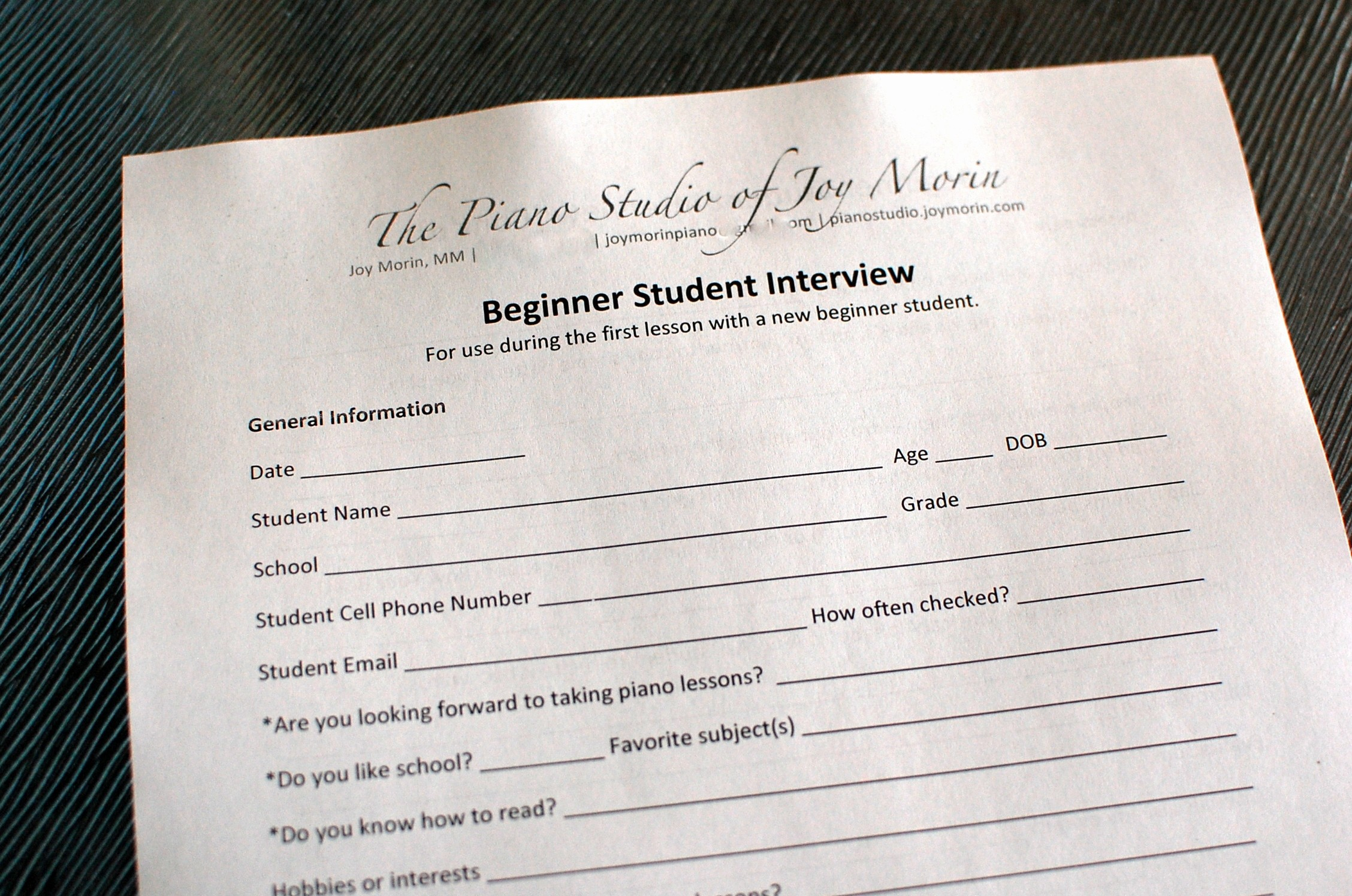 Personal Information form for Students Luxury Printables