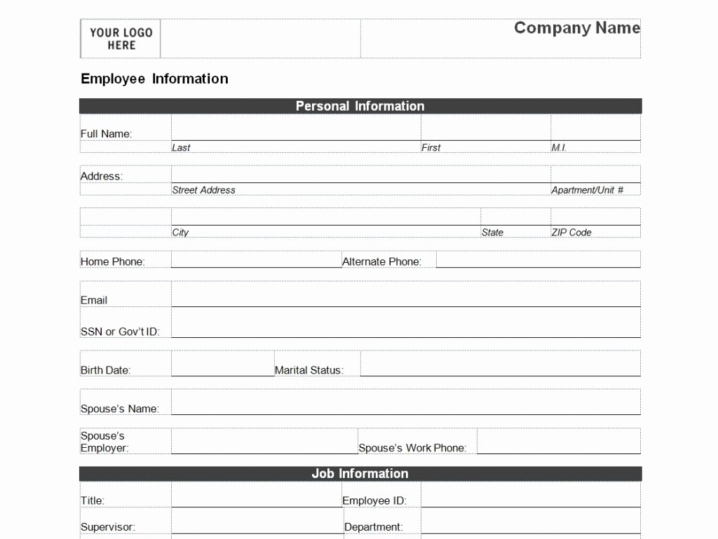Personal Information form for Students Unique Employee Personal Information form Template