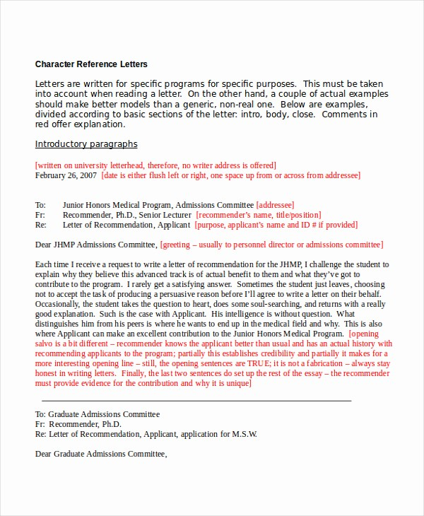 Personal Letter Of Recommendation Templates Beautiful Sample Personal Character Reference Letter Re Mendation