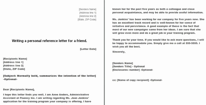 Personal Letter Of Recommendation Templates Best Of 40 Awesome Personal Character Reference Letter