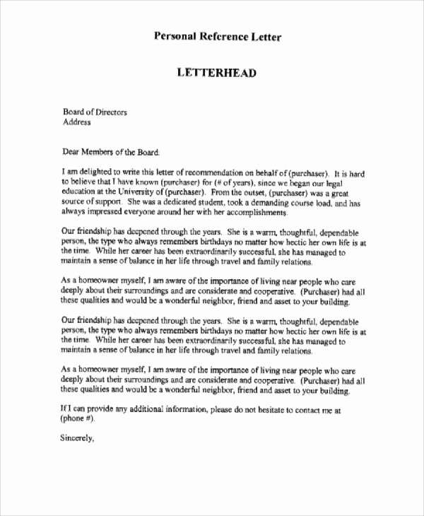 Personal Letter Of Recommendation Templates Best Of 7 Personal Reference Letter Sample