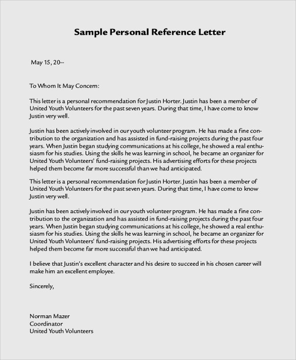 Personal Letter Of Recommendation Templates Fresh 21 Sample Personal Letters Of Re Mendation – Pdf Doc