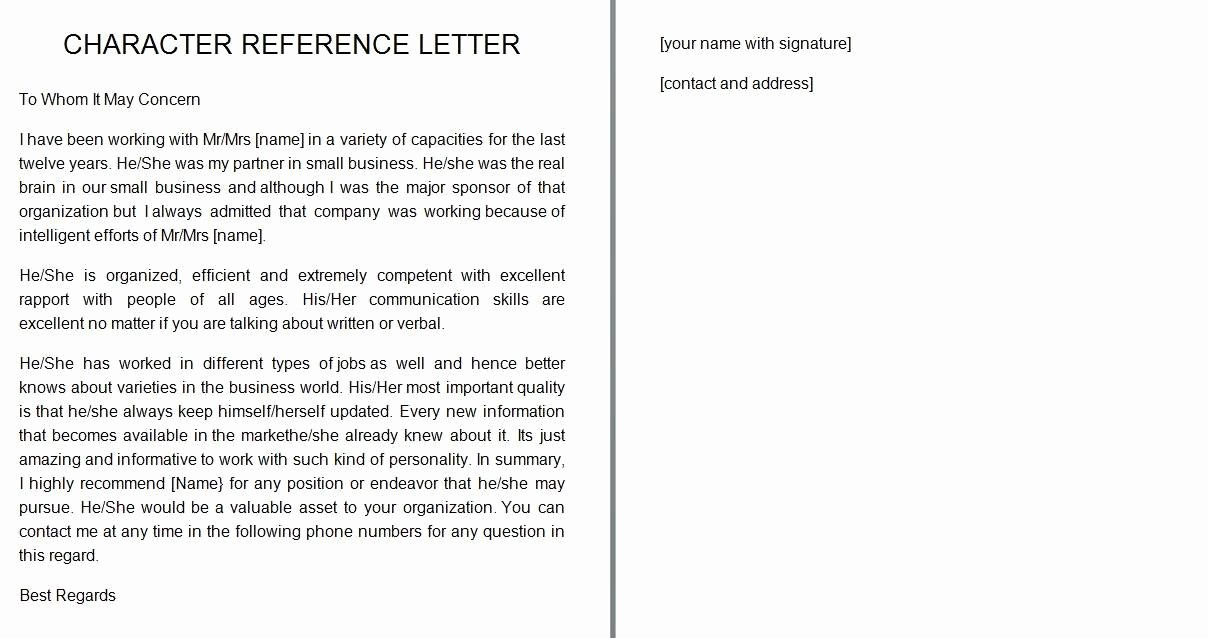 Personal Letter Of Recommendation Templates Fresh 41 Free Awesome Personal Character Reference Letter