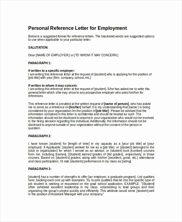 Personal Letter Of Recommendation Templates Fresh Writing A Letter Reference for A Student Letter Of