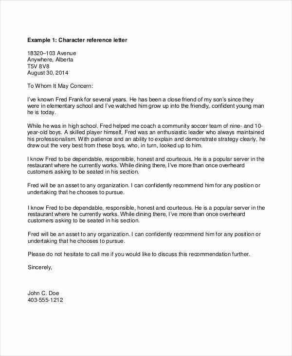Personal Letter Of Recommendation Templates Inspirational 8 Sample Personal Reference Letters