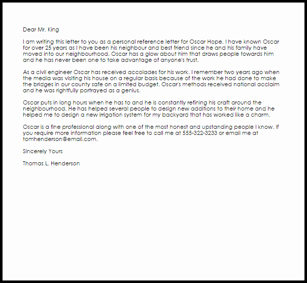 Personal Letter Of Recommendation Templates Inspirational Personal Reference Letter Example