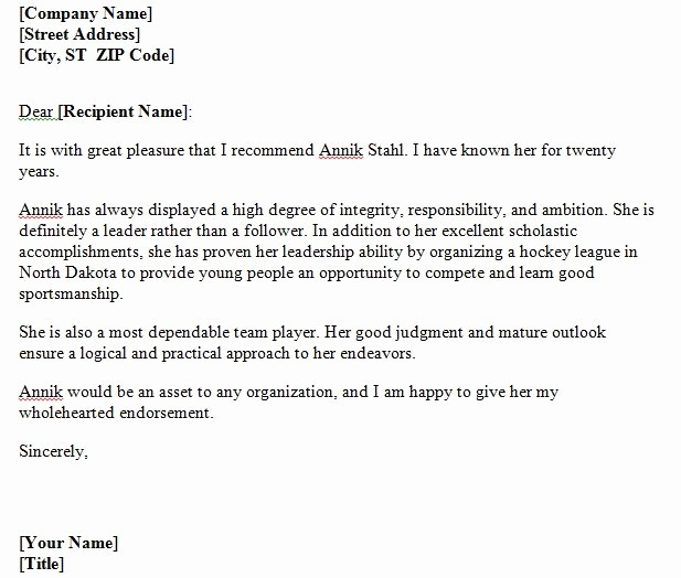 Personal Letter Of Recommendation Templates Lovely 40 Awesome Personal Character Reference Letter