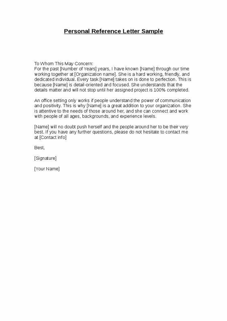 Personal Letter Of Recommendation Templates Lovely Stunning Personal Re Mendation Character Reference