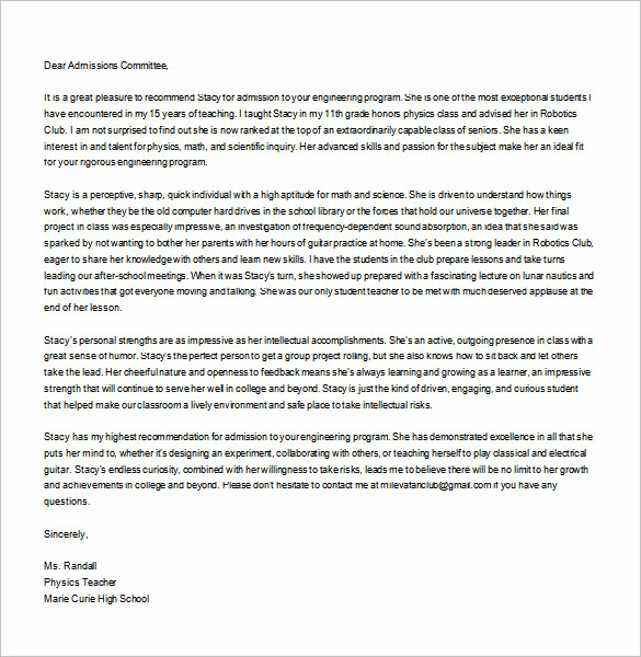 Personal Letter Of Recommendation Templates Luxury 25 Re Mendation Letter Templates Free Sample format
