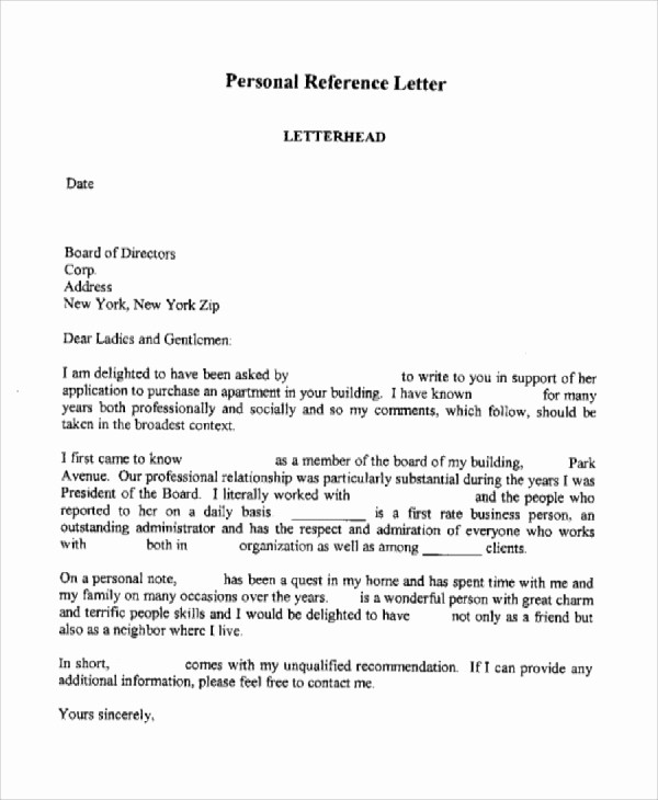 Personal Letter Of Recommendation Templates Luxury 7 Personal Reference Letter Sample