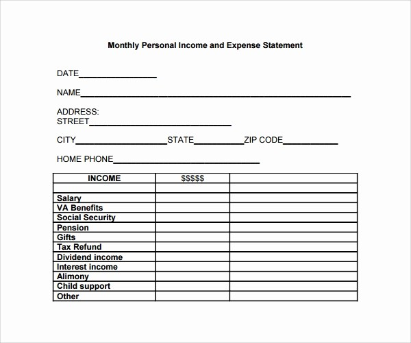 Personal Monthly Expense Report Template Best Of 10 Expense Statement Templates to Download