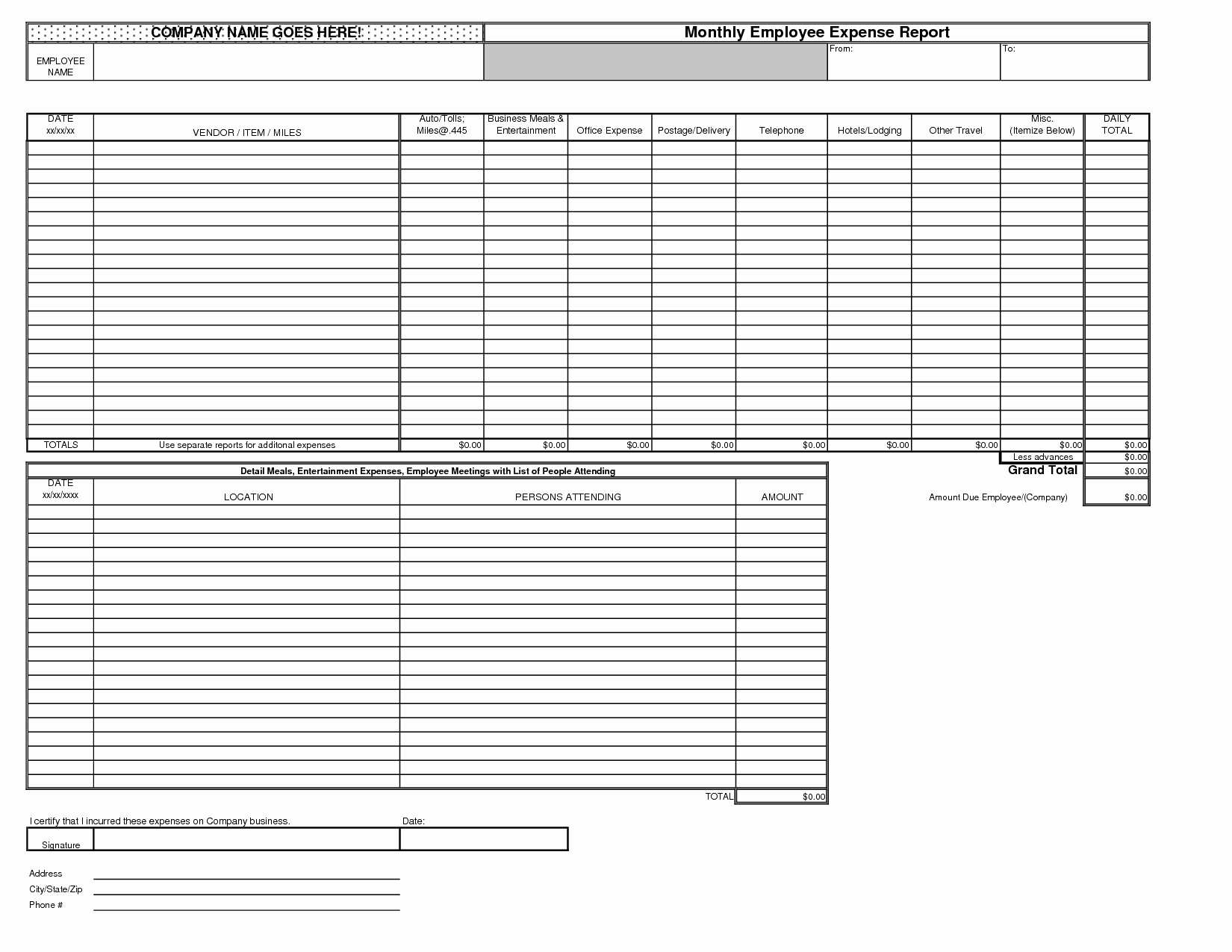 Personal Monthly Expense Report Template Elegant Best S Of Monthly In E Expense Report Template
