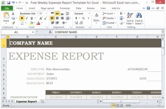 Personal Monthly Expense Report Template Fresh Free Weekly Expenses Report Template for Excel