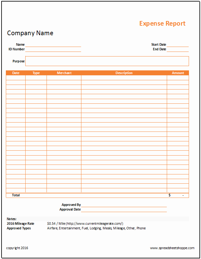 Personal Monthly Expense Report Template Fresh Simple Expense Report Template Spreadsheetshoppe