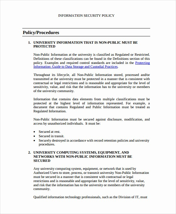 Personal P&l Template Unique Information Technology Policy Template Free Beautiful