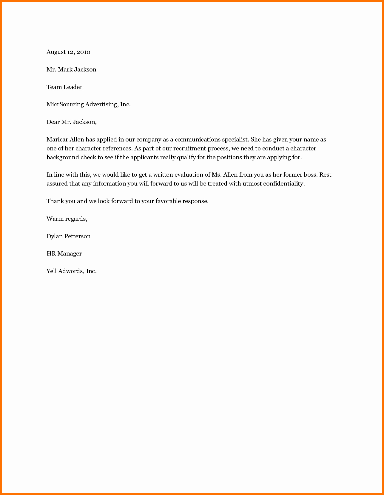 Personal Reference Letter Template Free Beautiful Basic Reference Letter Mughals